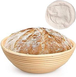 Sibosen 10 Inch Round Bread Banneton Proofing Basket, Natural Rattan Baking Bowl Dough Sourdough Bread Starter w/Cloth Liner