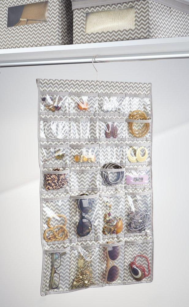 Rangement Bijoux bagues Couleur/: Transparent//Motif Zigzag Colliers Organisateur Bijoux /à 48 Poches mDesign pr/ésentoir /à Bijoux Lunettes