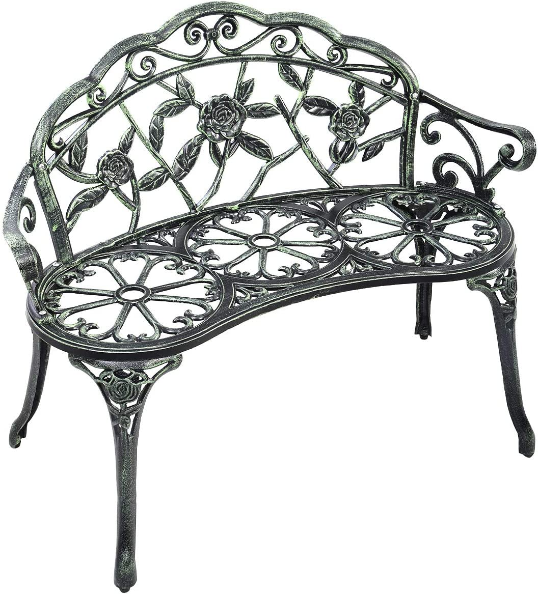 Giantex Outdoor Garden Bench Iron Patio Benches for Outdoors, Porch Bench Chair with Curved Legs Cast Aluminum Rose Antique Style, Green