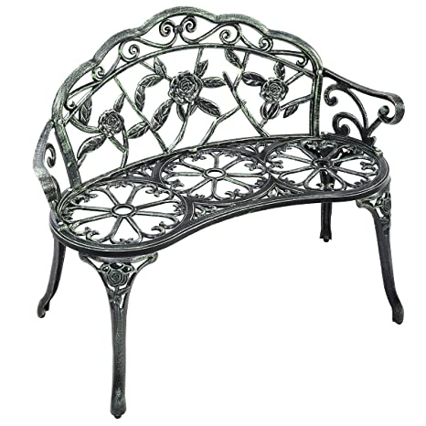 Admirable Giantex Outdoor Garden Bench Iron Patio Benches For Outdoors Porch Bench Chair With Curved Legs Cast Aluminum Rose Antique Style Green Ncnpc Chair Design For Home Ncnpcorg