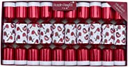 R&R English Holiday Table Decor Christmas New Year 10pc 8.5in Themed Crackers - Red Glitter