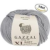 3 Pack (Ball) Gazzal Baby Cotton XL Total 5.28 Oz / 344 Yrds, Each Ball 1.76 Oz (50g) / 246 Yrds (225m) Super Soft, DK- Worsted Baby Yarn, 50% Turkish Cotton, Grey - 3430