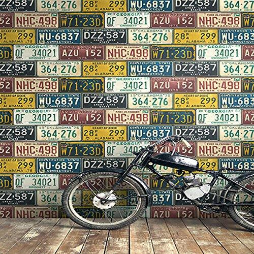 Wallpaper Fun Vintage Style United States USA License Plates