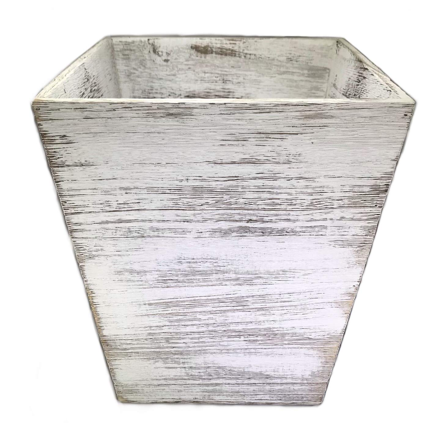 StyleHaus Rustic Wood Waste Basket - Square - Weathered White Barnwood Style - 12x10x10in