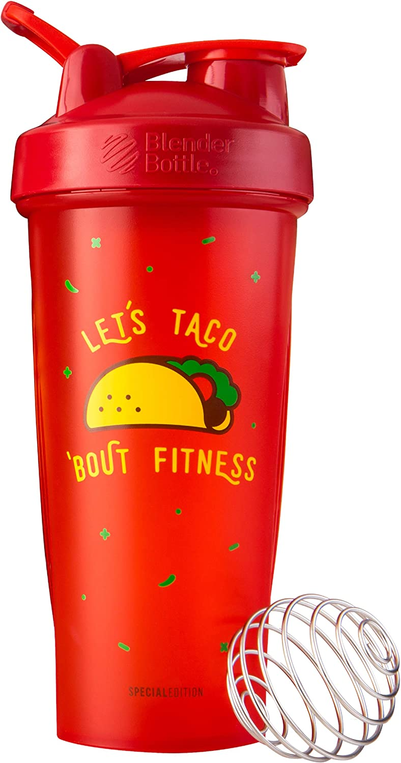 BlenderBottle Just for Fun Classic Shaker Bottle Perfect for Protein Shakes and Pre Workout, 28-Ounce, Let's Taco 'Bout Fitness
