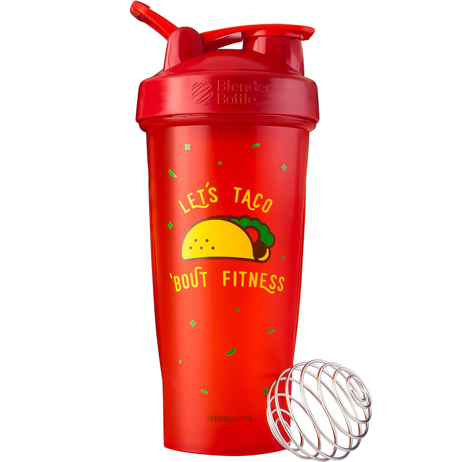 BlenderBottle Just for Fun Classic 28-Ounce Shaker Bottle  Lets Taco Bout Fitness
