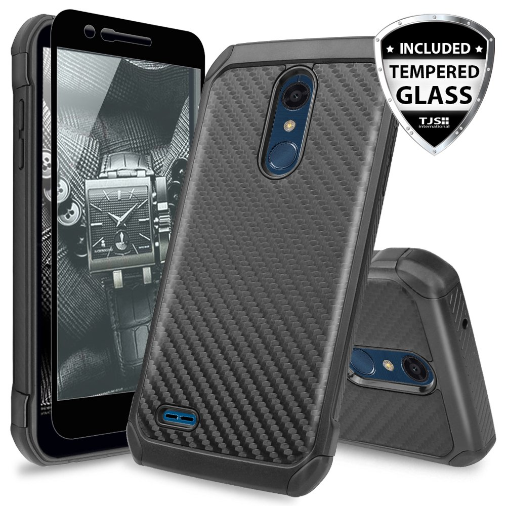 TJS LG K10 2018/K30/Premier Pro LTE/Harmony 2/Phoenix Plus Case, with [Tempered Glass Screen Protector] Dual Layer Hybrid Shock Absorbing Case Carbon Fiber Back TPU Inner Layer (Black)