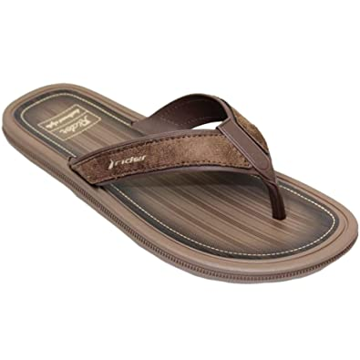691366b62a695c Mens Faux Suede Leather Strap Slip On Backless Toe Post Thong Mule Sandals   Brown