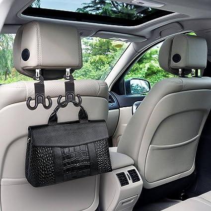 TraveT 2pcs Car Seat Headrest Hooks Hanger Holder For Handbag Purse Grocery Bag Cloth