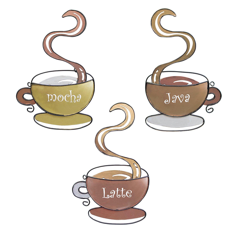 Super Z Outlet Coffee House Mug Cups Latte Java Mocha 3D Metal Wall Art Sculpture for Home Kitchen Decoration, Gifts, Restaurants