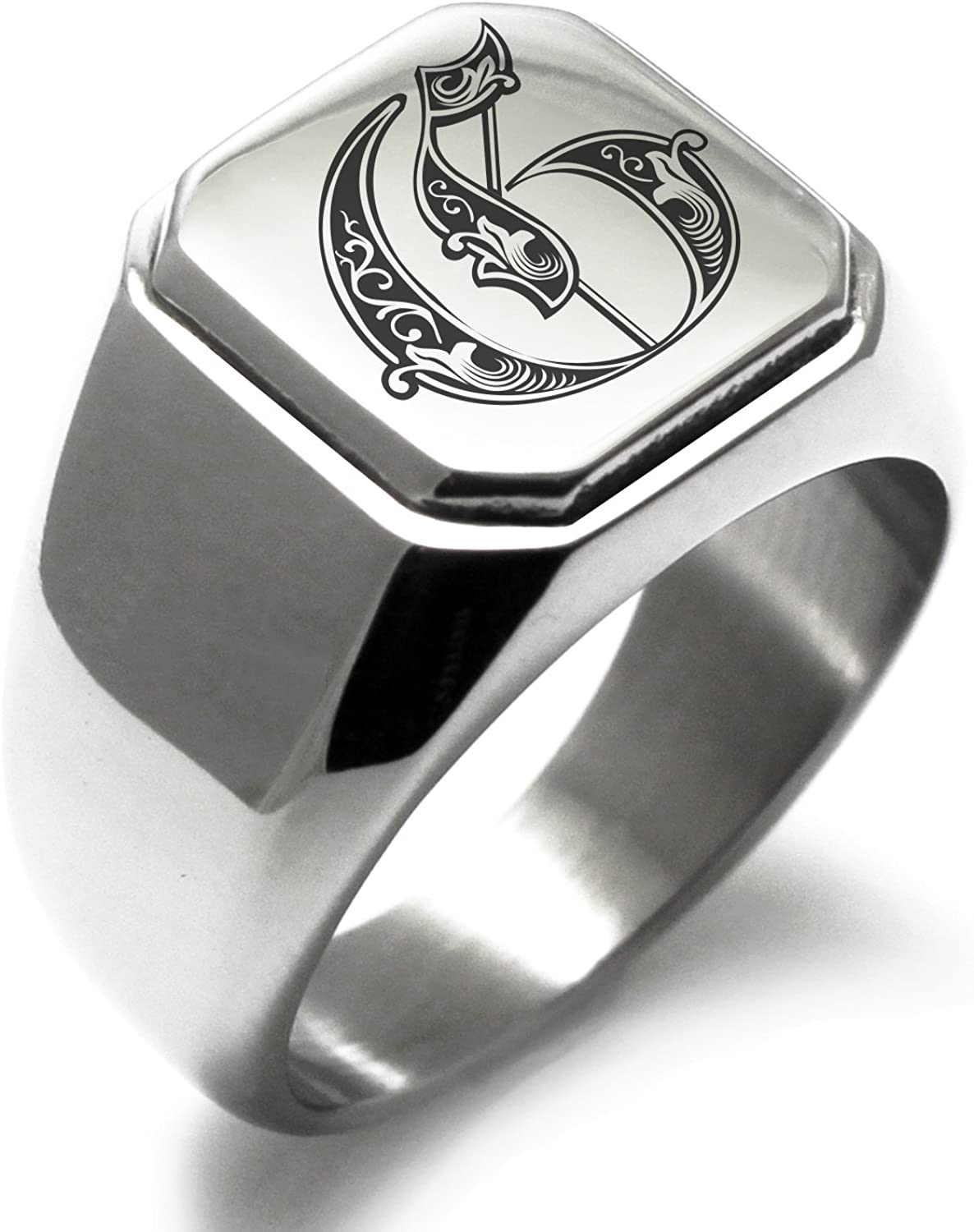 Stainless Steel Letter G Alphabet Initial Royal Monogram Square Flat Top Biker Style Polished Ring