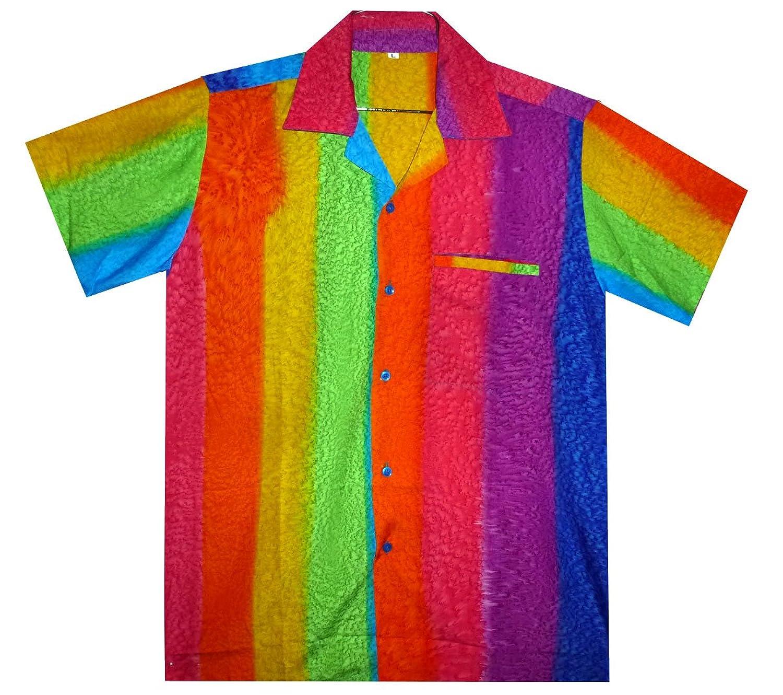 V.H.O Funky Hawaiian Shirt for Men Short Sleeve Front-Pocket Rainbow Horizontal Multicoloured