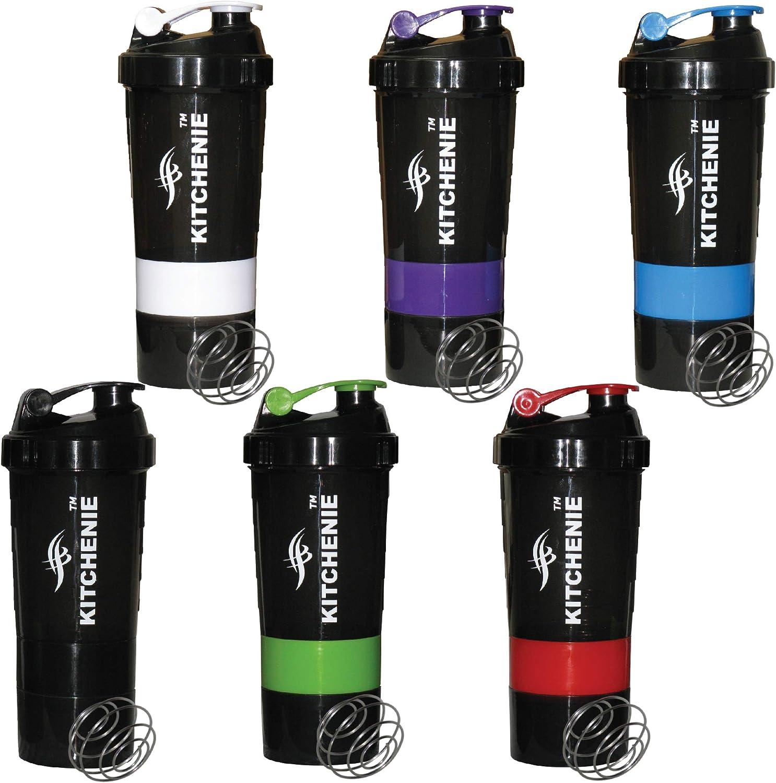 KITCHENIE-6 Pack-Protein Shaker Bottle BPA Free-Easy Grip-Leak Proof Flip Cap-Stainless Steel Ice Shaker Ball, 20 Oz Drink Shaker Cup, +2 Twist-on Cups on Each Bottom for Powder & Capsule Organizer
