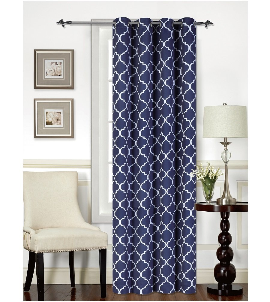 Living Room with Silver Grommet and 1 Tieback Mellanni Thermal Insulated Blackout Curtains 1 Panel 1 Panel, 52 x 84, Quatrefoil Navy Window Treatments // Drapes for Bedroom