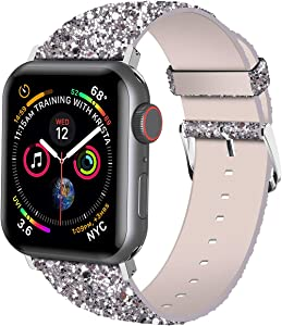 iiteeology Compatible with Apple Watch Band 38mm 40mm 42mm 44mm, Shiny Bling Glitter Leather Band for iWatch SE Series 6/5/4/3/2/1 Women Girls (Silver, 38mm)