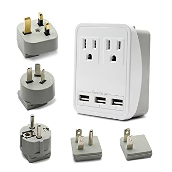 Amazon.com: Mundo adaptador de viaje kit de cargador – 3 USB ...