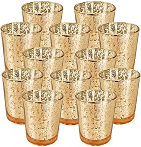 """Just Artifacts Mercury Glass Votive Candle Holder 2.75"""" H (12pcs, Speckled Gold) -Mercury Glass Votive Tealight Candle Holders for Weddings, Parties and Home Decor"""