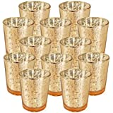 "Just Artifacts Mercury Glass Votive Candle Holder 2.75"" H (12pcs, Speckled Gold) -Mercury Glass Votive Tealight Candle…"