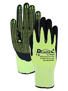 Cut Resistant Hi-Viz Polyurethane Coated Gloves with Foam Nitrile Dots | Cut Level A4 Hyperon Work Gloves for Machining & Metal Stamping (GPD469-12) - Black/Hi-Viz Yellow, Size 12 (12 Pairs)