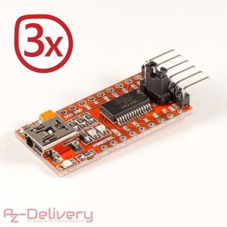 AZDelivery 3 x FTDI Adaptador FT232RL USB a TTL Serial para