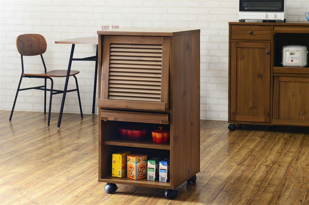 キッチン収納 レンジボード ワゴン キッチンワゴン カラー:ライトブラウン 幅:45cm B01IOD3S9E