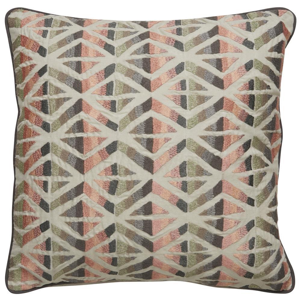 品質保証 Jaipur部族パターンアイボリー ピンクコットンDown Filled枕 18