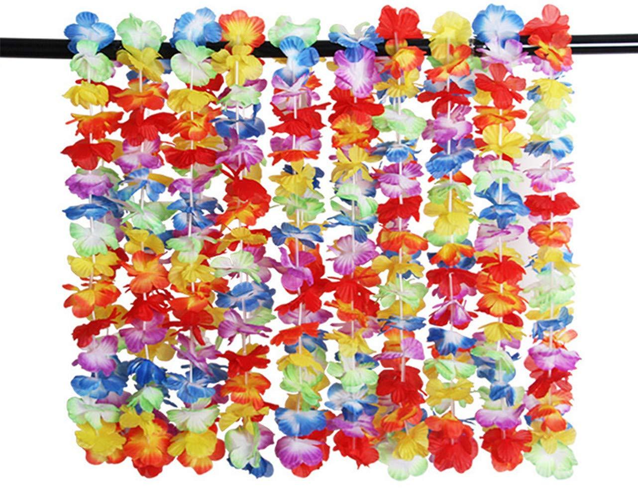 Strand und Themenbezogenen Geburtstage DREAMWIN 51stk Bunten Hawaiikette Halskette Girlande Blumenkette Stoffbl/üten Hawaii Blumen Set f/ür Kleid