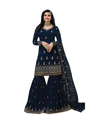 183455f504 ziya Women's Ethnic wear Indian Pakistani Net Sharara Palazo Salwar Kameez  Suit LT 2209 (Blue