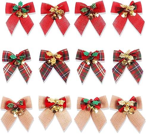 4 Couleurs TUPARKA 48 Pi/èces Noeud de Ruban de No/ël Ornements Arbre de No/ël Bowknot D/écoration Cadeaux de No/ël Pr/ésente Emballage Fournitures Artisanales