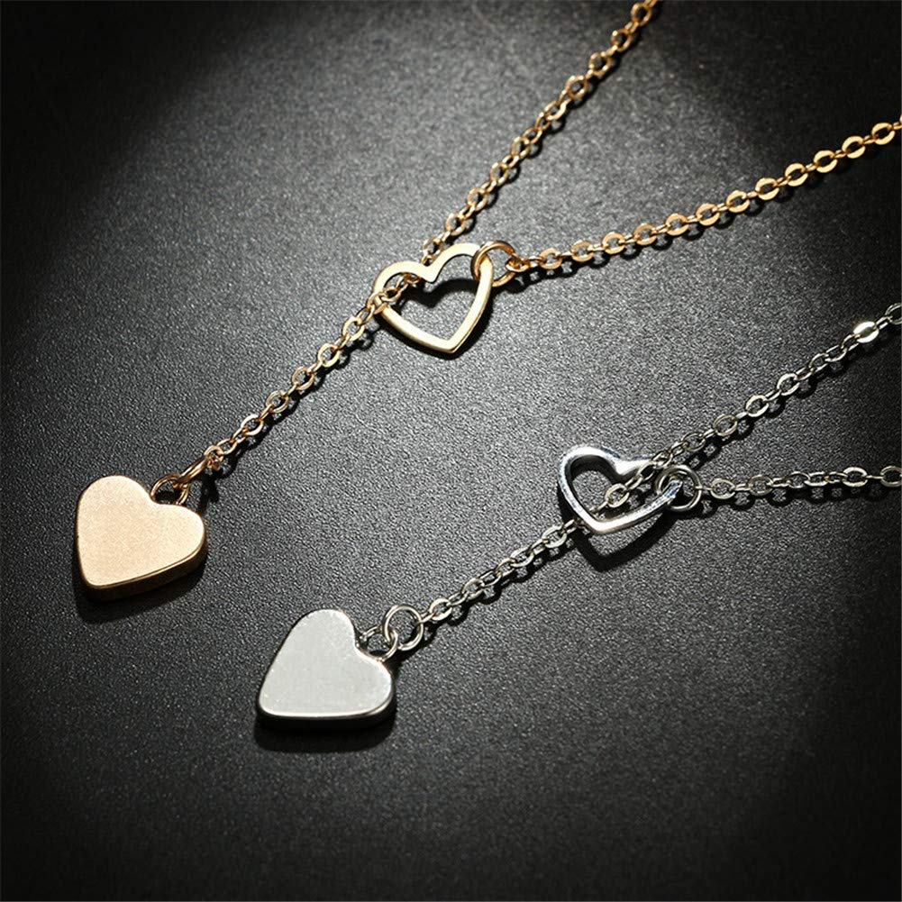 Aineecy Layered Infinity Love Heart Pendant Necklace Dainty Long Lariat Peach Heart Y Necklace for Women Girls Statement Jewelry Gifts