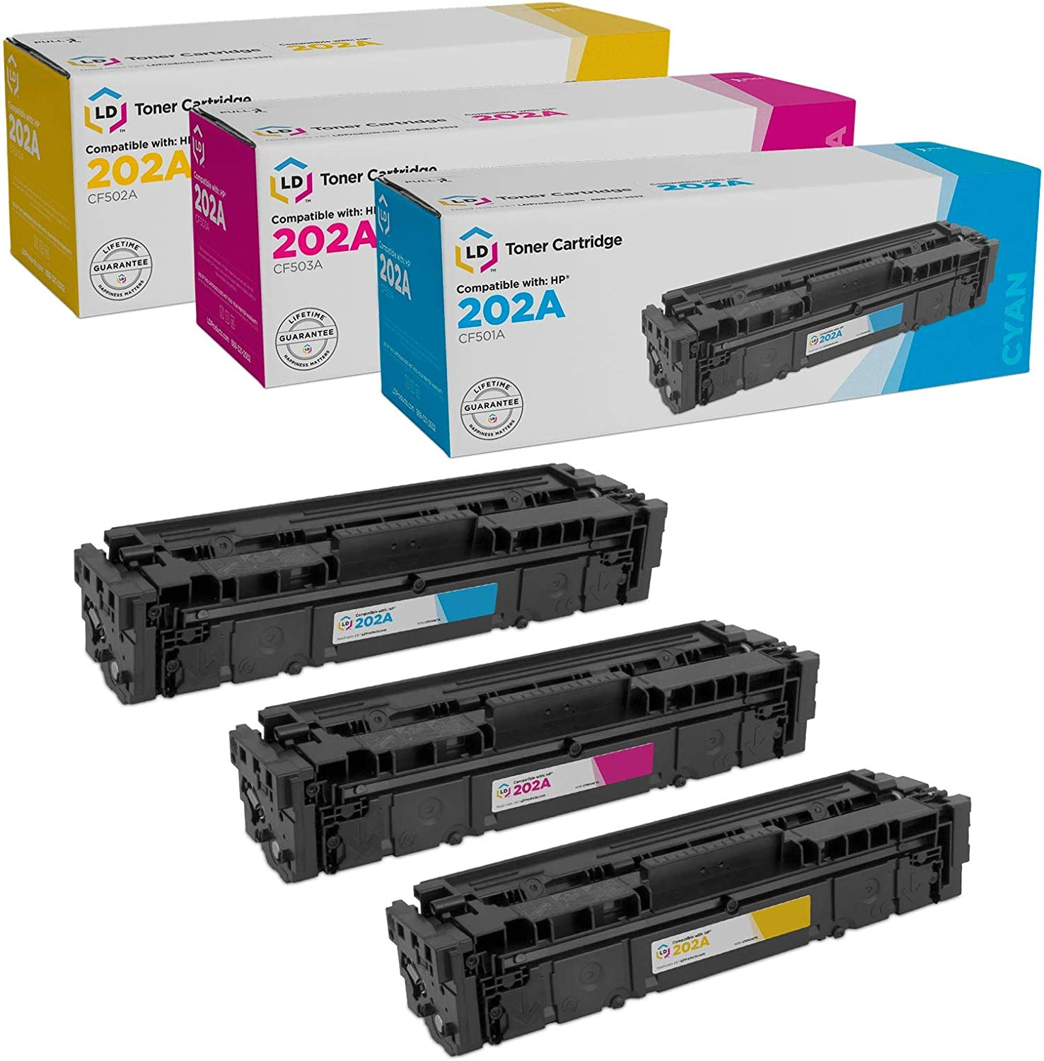 LD Compatible Toner Cartridge Replacements for HP 202X High Yield 1 Black, 1 Cyan, 1 Magenta, 1 Yellow, 4-Pack