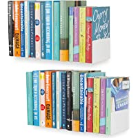 Dime Store Wall Mount Wall Shelf Storage Display Bookcase Book Shelf for Home Decor Items MDF (Set of Two, White)