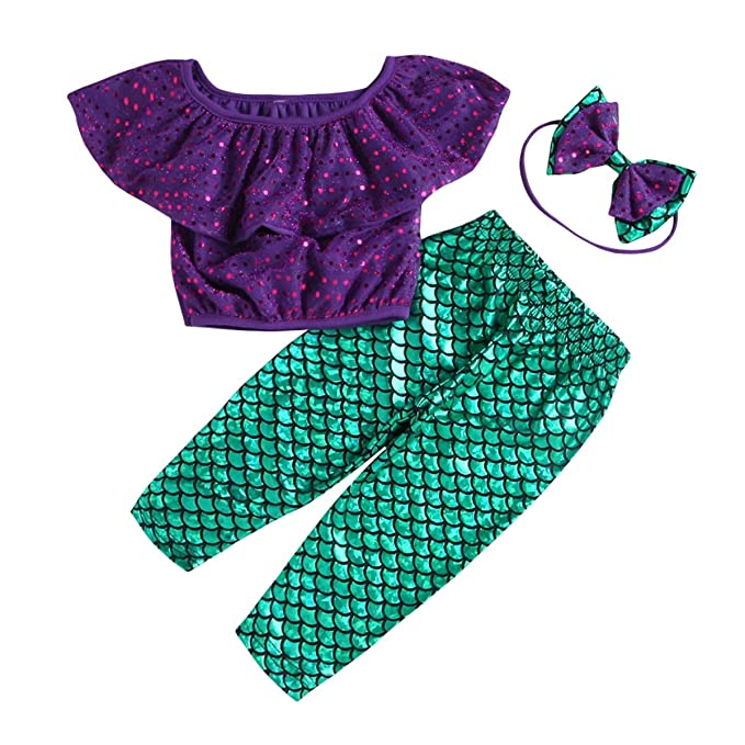 Amazon.com: 2Pcs Baby Girl Clothes Sequins Mermaid Outfit ...