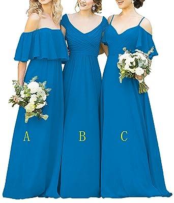 1653551a2037 Women s Ruffles Chiffon Floor Length Bridesmaid Dresses Elegant Off the  Shoulder Wedding Evening Gowns Blue-