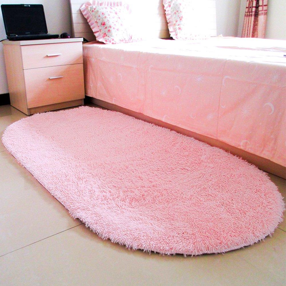 Blue moonrug Ultra Soft Fluffy Oval Area Rugs Shaggy Living Room Rug Solid Color Non-Slip Bedroom Bedside Rug Runners 2.7/' x 5.3/'