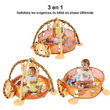 Tapis d\'Eveil pour Bébé 3 en 1 Tapis de Jeu Jouets Musical pour Bébé Tapis  Educatif avec Boules Colorées
