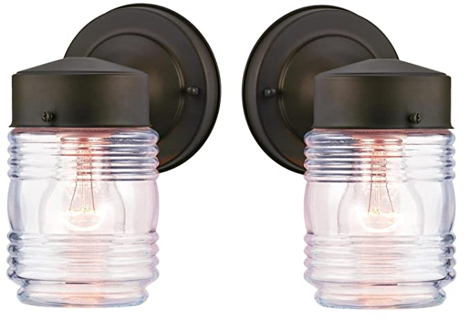 Westinghouse One Light Outdoor Jelly Jar Wall Fixture With Clear Ribbed Glass Oil Rubbed Bronze 2 Pack