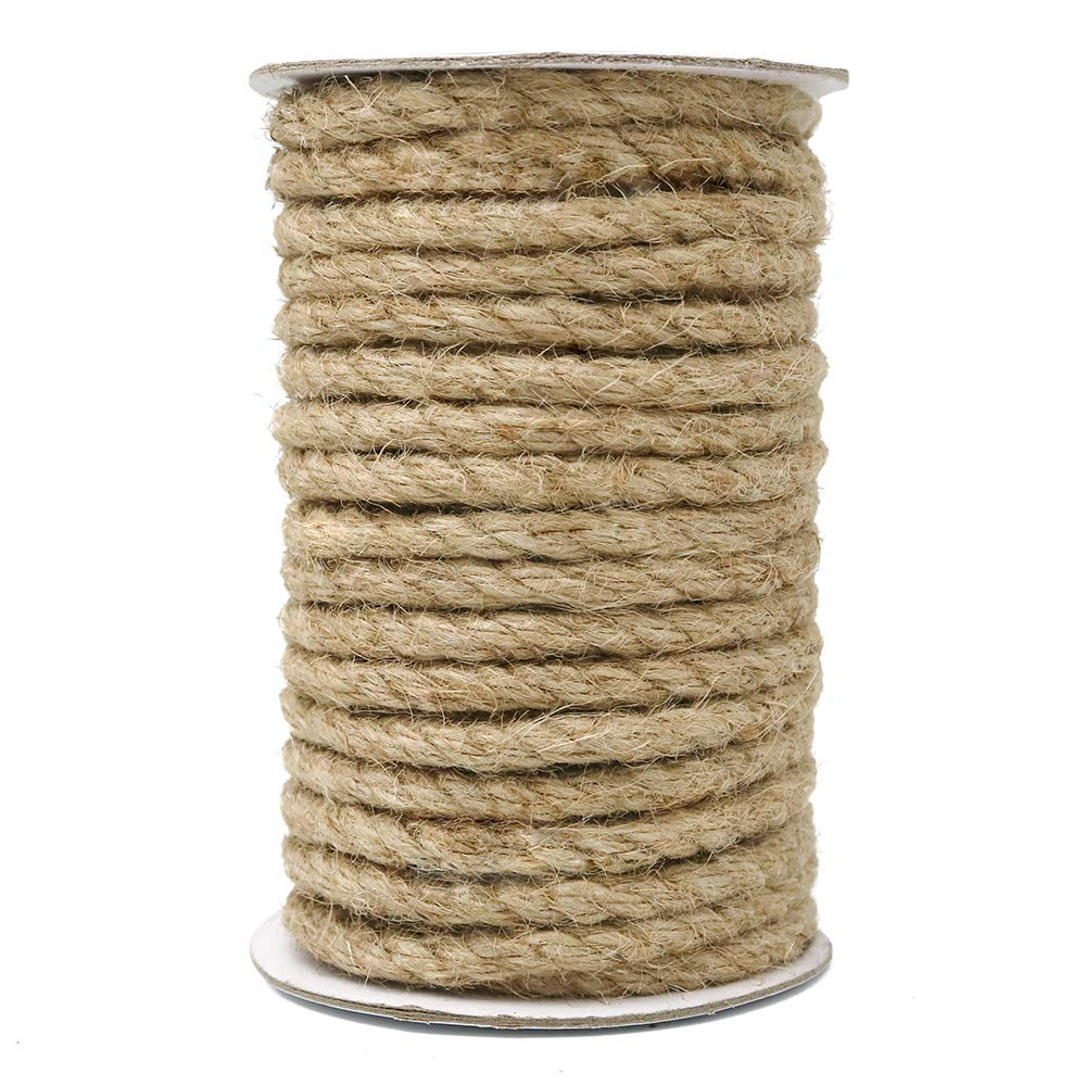 8mm Jute Twine,50 Feet Natural Jute Rope for Arts Crafts DIY Decoration Gift Wrapping by KINGLAKE