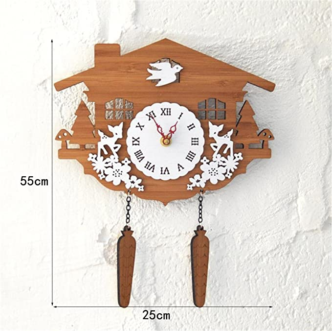 Wall clock TOYM nos rurales campo bosque de bambú Animal de casetas de madera reloj de cuco reloj de pared decoración de pared: Amazon.es: Hogar