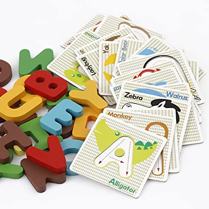 StarMall Alphabet Letters Matching Puzzle ABCs Flash Cards with Animals for Kids Prechool Toddlers