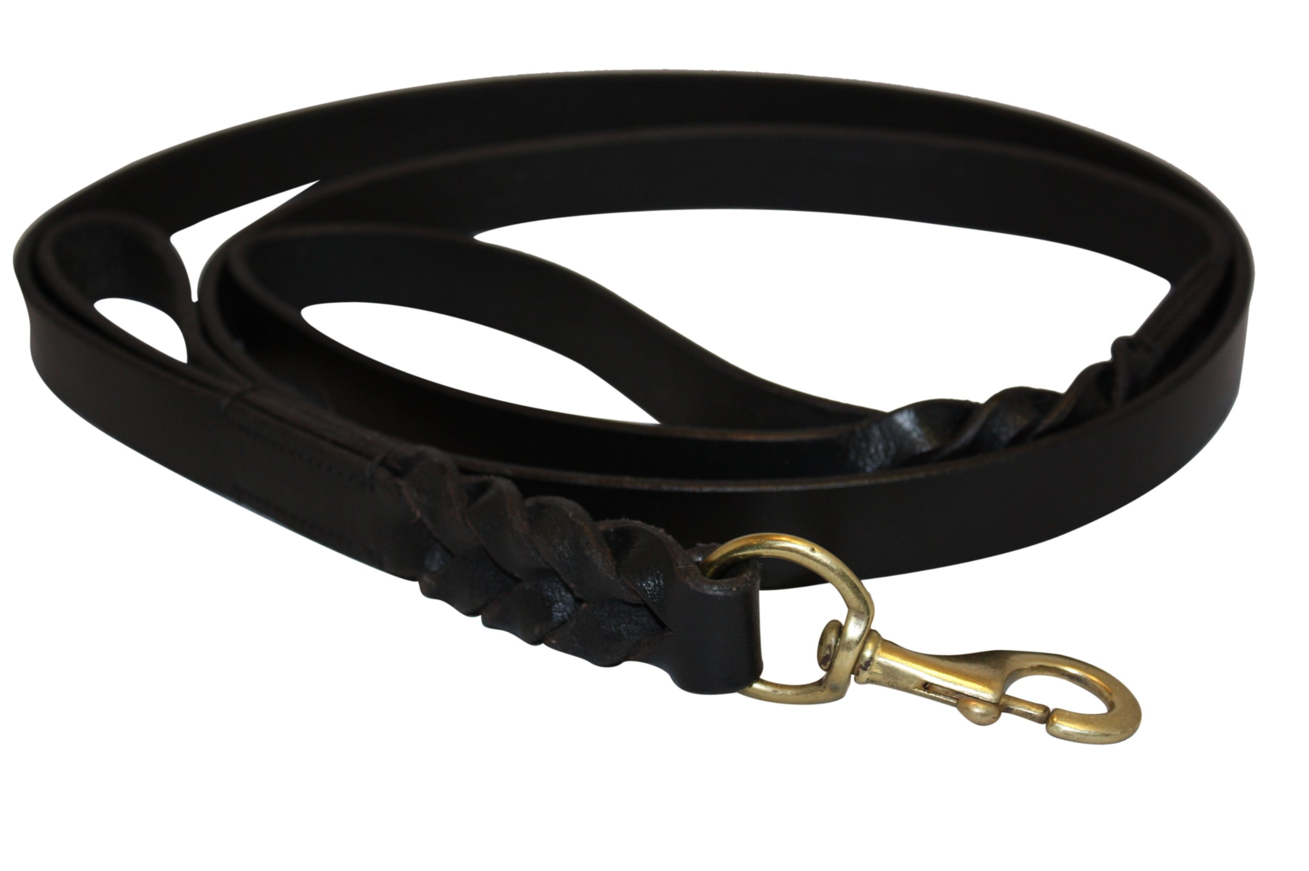 Angel Braided Black Leather 6' x 3/4'' Leash, with Extra Traffic Handle, Trainer Recommended, Perfect for Daily Use, Genuine Top Grain Leather, Maximum Control Traffic Handle. Pro Collection