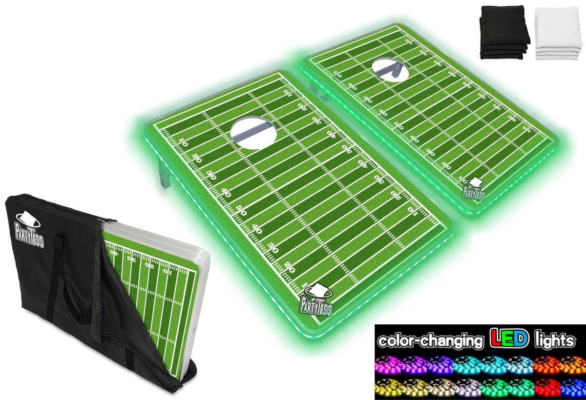 新しいパーティーPong製品 – パーティーToss CornholeボードBean Bag Toss Game Set w/オプション変光LEDライト(アメリカ、乾燥消去、トロピカル、カスタム、またはFootball) B07F21R2HT Football Party Toss Cornhole Set w/ LED Lights Football Party Toss Cornhole Set w/ LED Lights