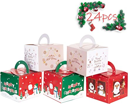 10//50X Christmas Gift Box Santa Claus Cookie Candy Food Paper Package Box Decor