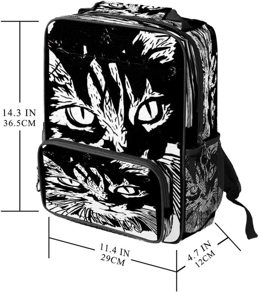 Casual School Backpack Cat Woodcut Print Laptop Rucksack Multi-Functional Daypack Book Satchel