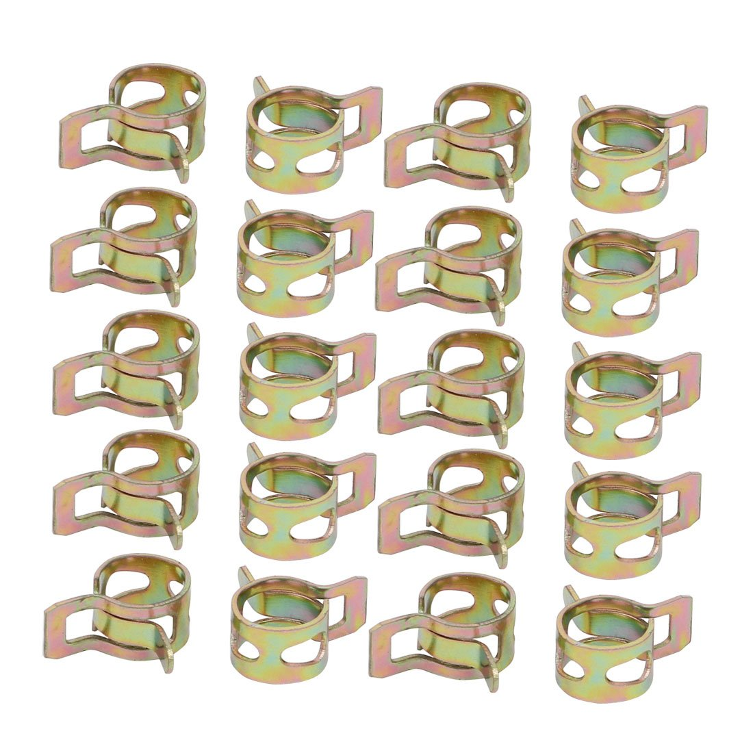 uxcell 20 Pcs 8mm Spring Band Type Action Fuel Hose Pipe Air Clamp Bronze Tone