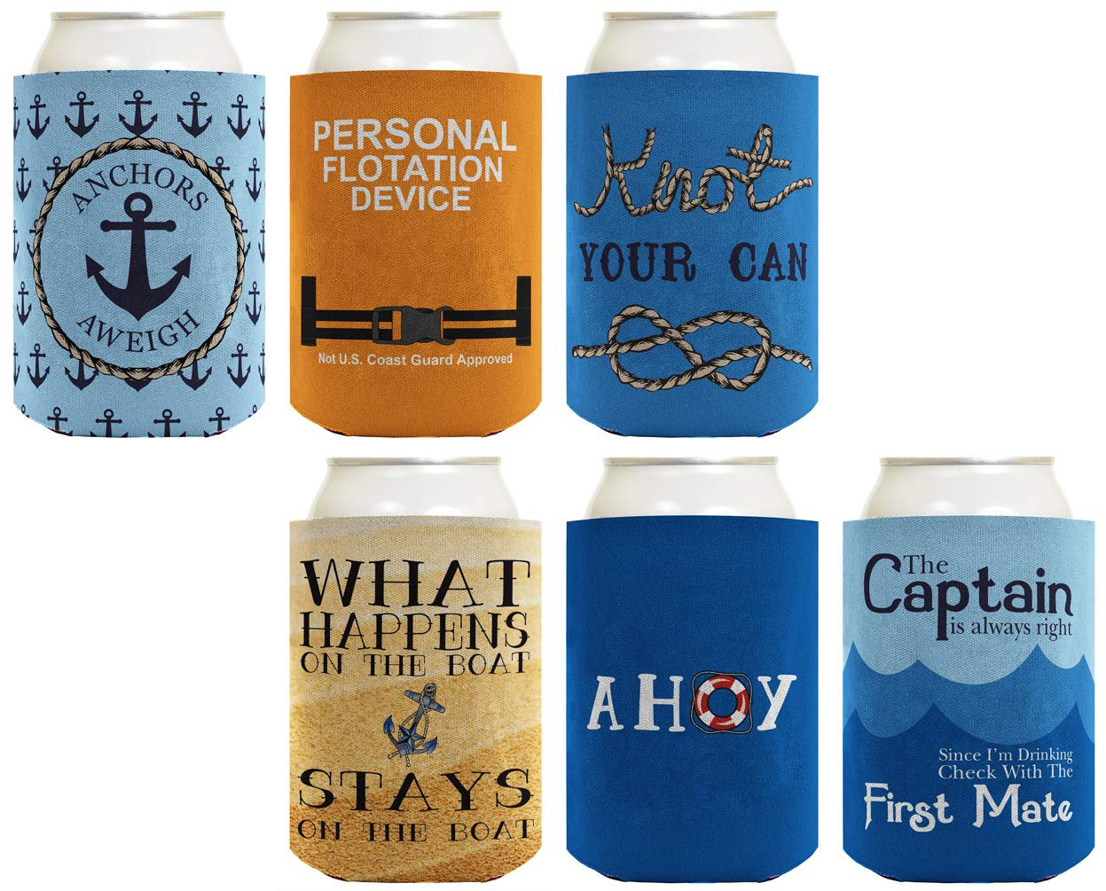 Boat Gifts Beer Coolie Nautical Gift Set Cruise Gifts 6-pack Can Coolie Drink Coolers Coolies Multi by ThisWear
