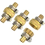 Gardeningwill 3Sets Brass 1/2 Garden Hose Mender End Repair Male Female Connector with Stainless Clamp