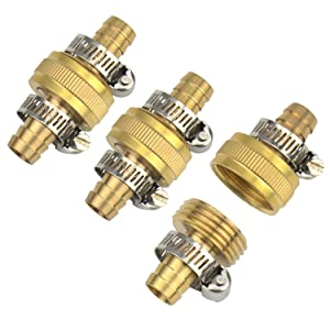 "3Sets Brass 1/2"" Garden Hose Mender End Repair Male Female Connector with Stainless Clamp"