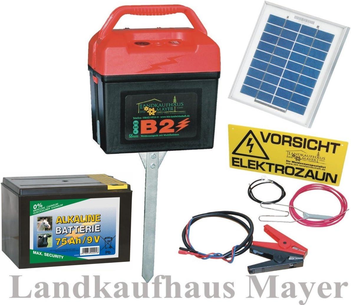 Pferde Elektrozaun Weidezaungerät B 7000 9V mit 12V Akku /& 10-Watt Solar Panel