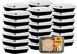 30 Pack Meal Prep Container, Single Compartment Food Storage Containers with Lids 26 oz, BPA Free Disposable Bento Boxes, Reusable To Go Container for Lunch, Microwave Freezer and Dishwasher Safe